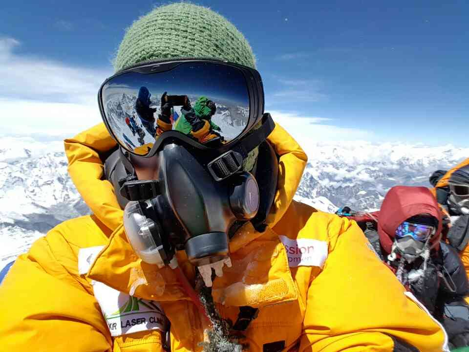 Dr. EEM climbing Everest