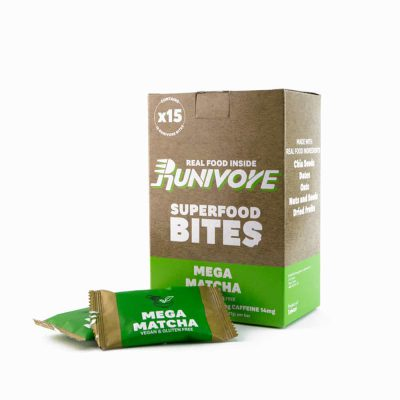 Runivore Mega Matcha Superfood Bites (15 Count) – Caffeine boost and Antioxidant Power of Green Tea in Delicious Bars