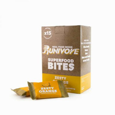 Runivore Zesty Orange Superfood Bites (15 Count) – Refreshing Citrus Taste in a Well Balanced Energy Bar